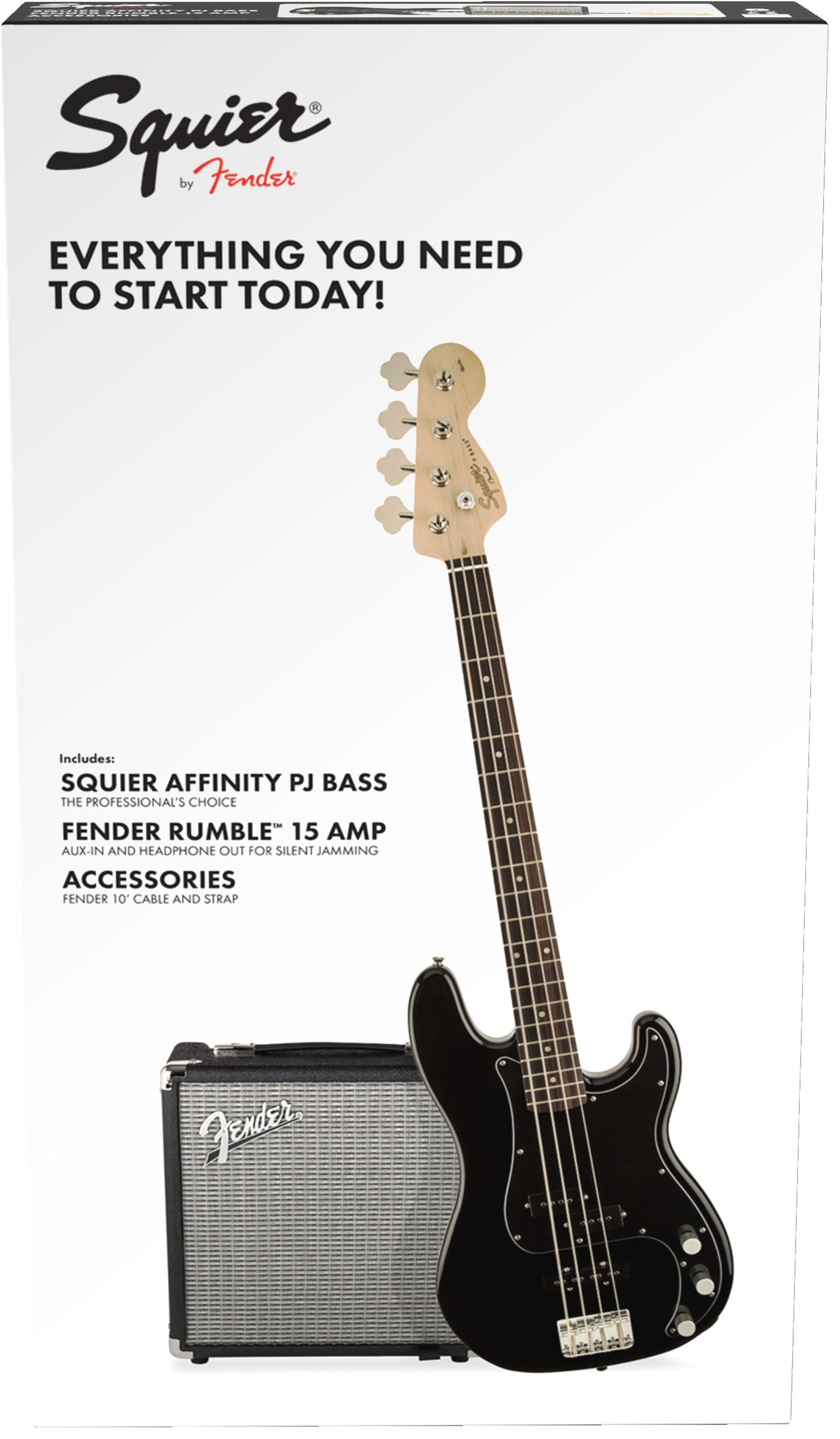 Squier Affinity PJ-Bass Black/Fender Rumble 15 Set