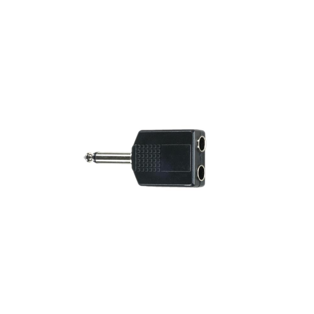 Adapter Klinkenstecker 6,3 mm Mono auf 2 x Klinkenbuchse 6,3 mm Mono