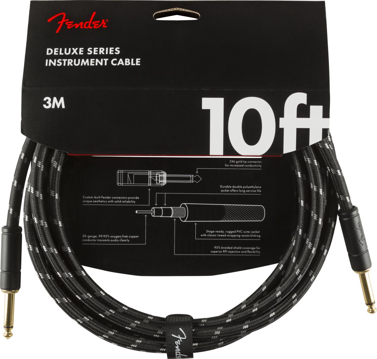 Fender Deluxe Kabel 3,0 m Black Tweed