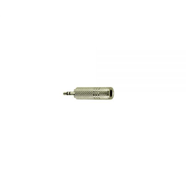Adapter Klinkenstecker 3,5 mm Stereo auf  Klinkenbuchse 6,3 mm Stereo Metall